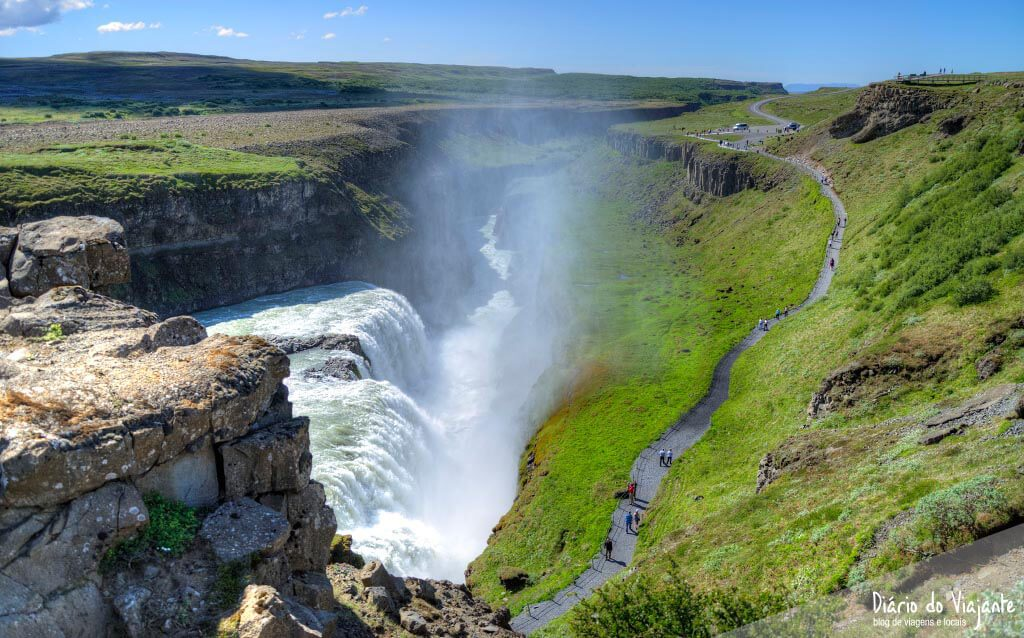 Catarata Gullfoss, imponente no desfiladeiro do rio Hvítá | Islândia